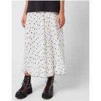 Ganni Women's Pleated Polk Dot Georgette Skirt - Egret - EU 34/UK 6