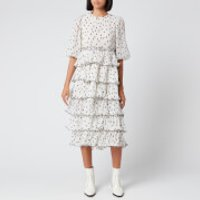 Ganni Women's Pleated Polka Dot Georgette Midi Dress - Egret - EU 42/UK 14