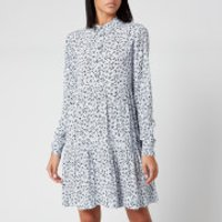 Ganni Women's Leaf Print Crepe Mini Shirt Dress - Heather - EU 40/UK 12