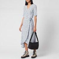 Ganni Women's Leaf Print Crepe Wrap Dress - Heather - EU 34/UK 6