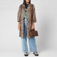 Ganni Women's Leopard Print Linen Jacket - Leopard - EU 38/UK 10