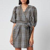 Ganni Women's Seersucker Check Mini Wrap Dress - Kalamata - EU 36/UK 8
