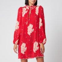 Ganni Women's Floral Pleat Georgette Mini Dress - Lollipop - EU 36/UK 8