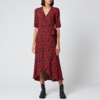 Ganni Women's Leaf Print Crepe Wrap Dress - Black/Red - EU 38/UK 10