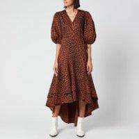 Ganni Women's Leopard Print Cotton Poplin Wrap Dress - Toffee - EU 40/UK 12