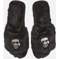 Karl Lagerfeld Women's Salotto II Ikonic Slip-On Slippers - Black Wool - M (UK 5-UK 6)