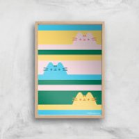Pusheen Trio Stripes Giclee Art Print - A2 - Wooden Frame