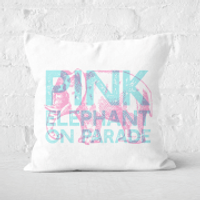 Pressed Flowers Pink Elephant Square Cushion - 50x50cm - Soft Touch
