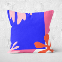 Pressed Flowers Bright Coloured Leaves Square Cushion - 50x50cm - Soft Touch