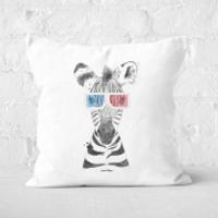 Pressed Flowers 3D Zebra Square Cushion - 40x40cm - Soft Touch