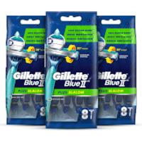 Gillette Blue II Plus Slalom Disposable Razors (24 Pack - 3 Month)