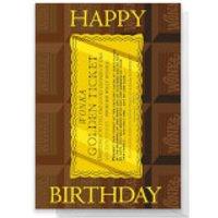 Willy Wonka Golden Ticket Birthday Greetings Card - Standard Card