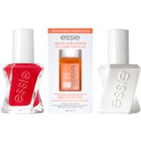 essie Gel Red Nail Polish and Apricot Cuticle Oil Care Bundle