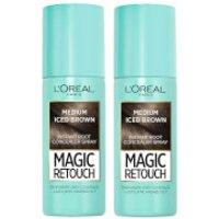 L'Oreal Paris Magic Retouch Medium Iced Brown Root Concealer Spray Duo Pack