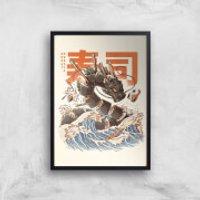 Ilustrata The Great Sushi Dragon Giclee Art Print - A4 - Black Frame