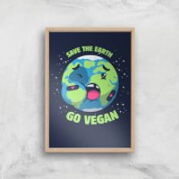 Ilustrata Save The Earth Giclee Art Print - A2 - Wooden Frame