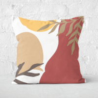 Hot Tone Abstract Leaves Square Cushion - 60x60cm - Soft Touch