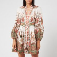 Zimmermann Women's Empire Batik Short Dress - Khaki Batik - 1/UK 10