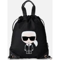 shop for Karl Lagerfeld Women's K/Ikonik Nylon Flat Backpack - Black at Shopo