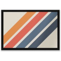 Blue Orange Retro Stripes Entrance Mat