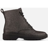 Clarks Women's Witcombe Hi 2 Glitter Leather Lace Up Boots - Black Glitter - UK 6