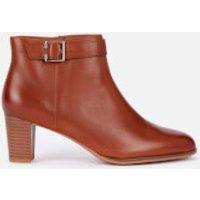Clarks Women's Kaylin60 Leather Heeled Ankle Boots - Dark Tan - UK 3