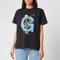 Ganni Women's Logo Flower T-Shirt - Black - XS