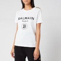 Balmain Women's Short Sleeve 3 Button Flocked Logo T-Shirt - White - XS