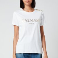 Balmain Women's Short Sleeve 3 Button Vintage Logo T-Shirt - White - XL