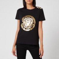 Balmain Women's 3 Button Metallic Coin T-Shirt - Black - XS