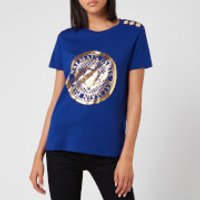 Balmain Women's 3 Button Metallic Coin T-Shirt - Blue - L