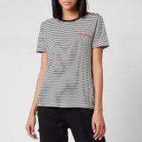 Balmain Women's Short Sleeve 3 Button Striped Logo Detail T-Shirt - Black - M