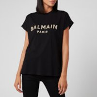 Balmain Women's Short Sleeve Sequined Logo T-Shirt - Black - M