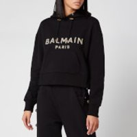 Balmain Women's Cropped Sequined Logo Hoodie - Black - M