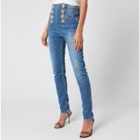 Balmain Women's High Waist 8 Button Vintage Skinny Jeans - Blue - FR 38/UK10