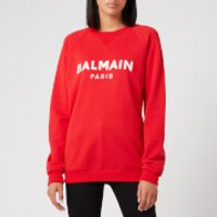 Balmain Women's Satin Logo Sweatshirt - Red - M