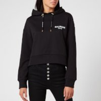 Balmain Women's Cropped Flocked Logo Detail Hoodie - Black - XS