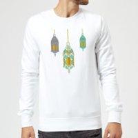Eid Mubarak Lamps Sweatshirt - White - 5XL - White