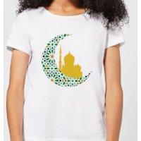Eid Mubarak Patterned Moon And Golden Skyline Women's T-Shirt - White - XL - White