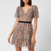 Self-Portrait Women's Leaf Sequin Mini Dress - Light Grey - UK 12