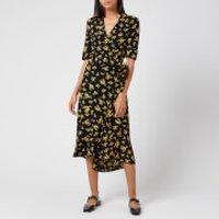 Ganni Women's Printed Crepe Dress - Black - EU 38/UK 10