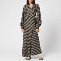 Ganni Women's Viscose Stripe Wrap Dress - Black - EU 36/UK 8