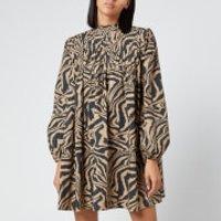 Ganni Women's Printed Cotton Poplin Mini Dress - Tannin - EU 38/UK 10
