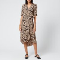 Ganni Women's Printed Crepe Wrap Dress - Tannin - EU 34/UK 6