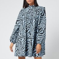 Ganni Women's Printed Cotton Poplin Mini Dress - Forever Blue - EU 34/UK 6