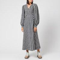 Ganni Women's Seersucker Check Long Sleeve Maxi Dress - Black - EU 40/UK 12