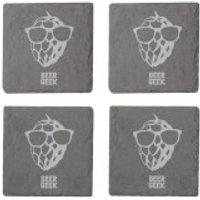 Beer Geek Engraved Slate Coaster Set