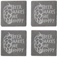Beer Makes Me Hoppy Engraved Slate Coaster Set