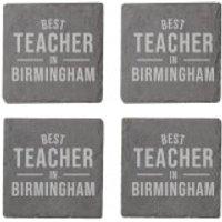 Best Teacher In Birmingham Engraved Slate Coaster Set