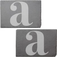 Lowercase Letter Engraved Slate Placemat - Set of 2 - A
